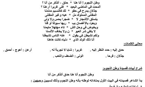 شرح قصيدة وطن النجوم لغة عربية
